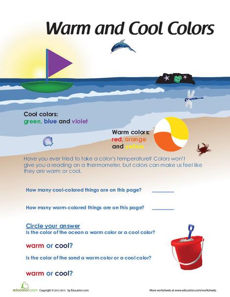 Kindergarten Fine arts Worksheets: Warm and Cool Colors