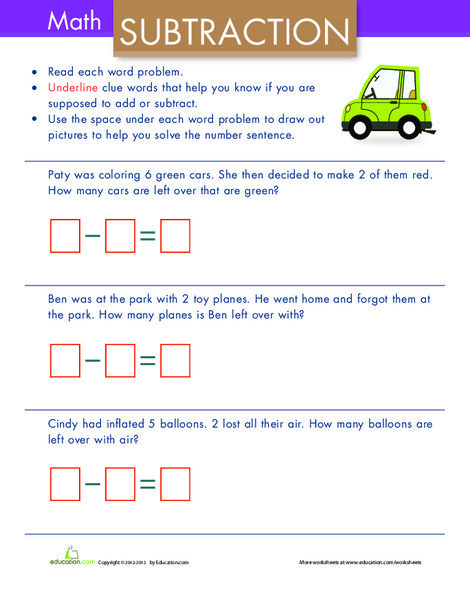 Kindergarten Math Worksheets: Simple Subtraction Word Problems