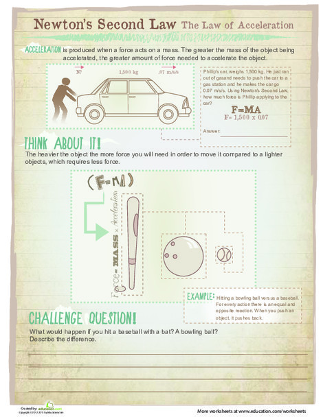 Fifth Grade Science Worksheets: Newton's Second Law