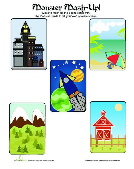 Second Grade Offline games Worksheets: Monster Mash-Up Settings