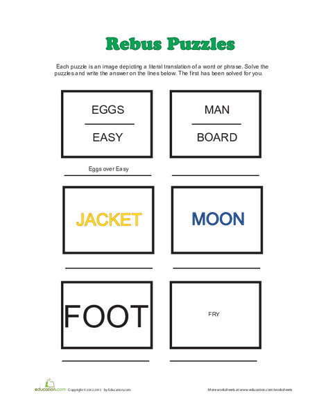 Third Grade Offline games Worksheets: Rebus Puzzles