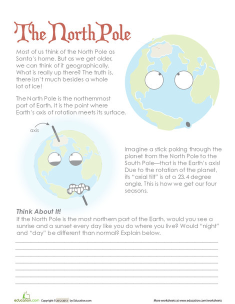 Third Grade Reading & Writing Worksheets: Facts About The North Pole