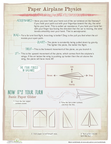 Fifth Grade Science Worksheets: Paper Airplane Physics