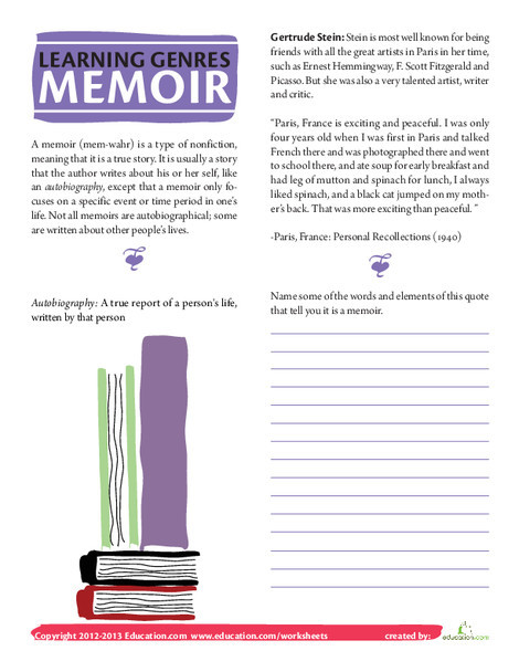 Fourth Grade Reading & Writing Worksheets: What is a Memoir?