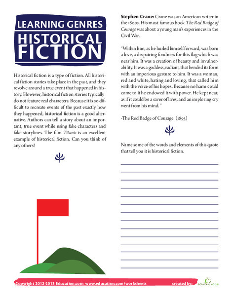 Fourth Grade Reading & Writing Worksheets: What is Historical Fiction?