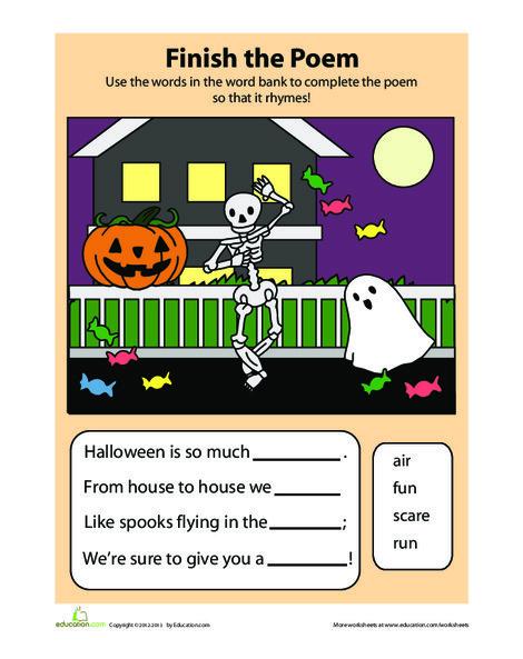 Kindergarten Reading & Writing Worksheets: Halloween Poem