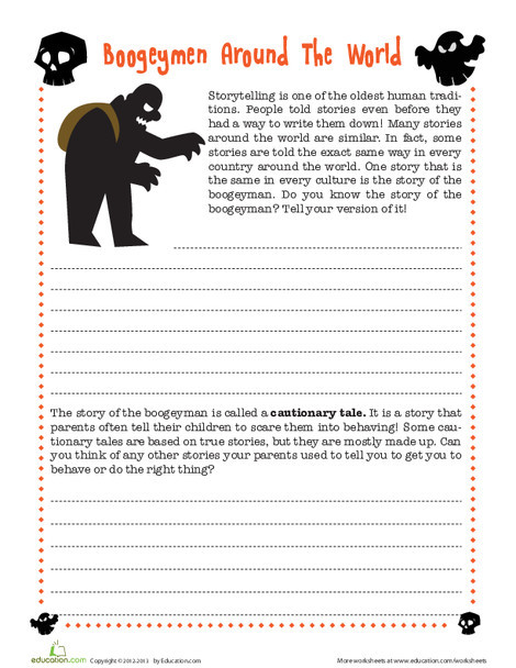 Fourth Grade Reading & Writing Worksheets: The Boogeyman