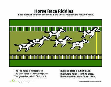 Preschool Math Worksheets: Horse Race Sequencing