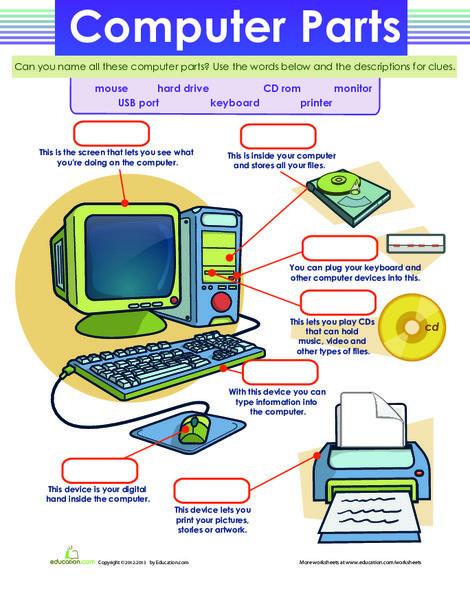 Second Grade Reading & Writing Worksheets: Computer Parts
