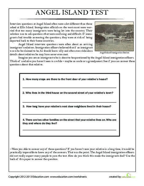 Fourth Grade Social studies Worksheets: Angel Island Immigration Test