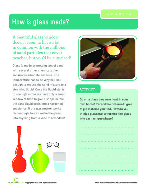 Third Grade Science Worksheets: How is Glass Made?
