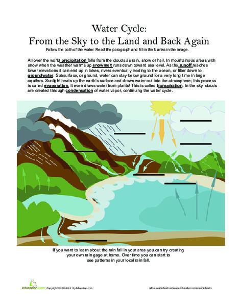 Third Grade Science Worksheets: Water Cycle: Precipitation