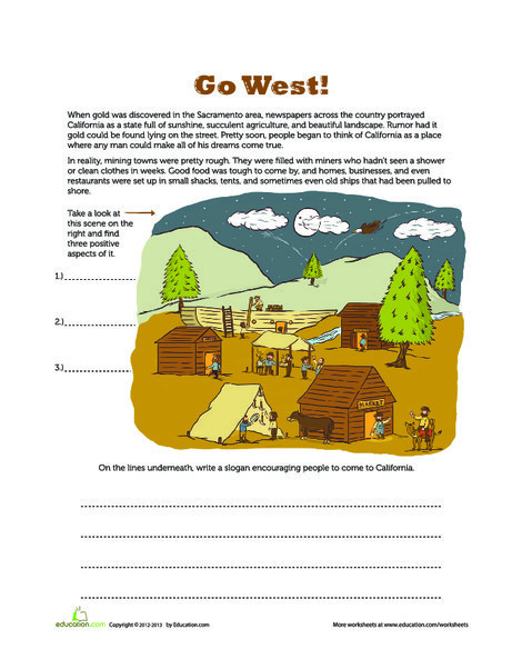 Fourth Grade Reading & Writing Worksheets: Gold Rush Advertisement