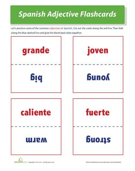 Fourth Grade Foreign language Worksheets: Spanish Adjectives