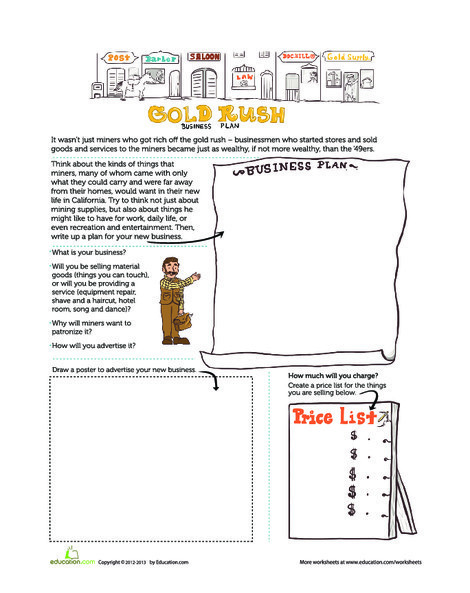 Fourth Grade Social studies Worksheets: Gold Rush Business Plan