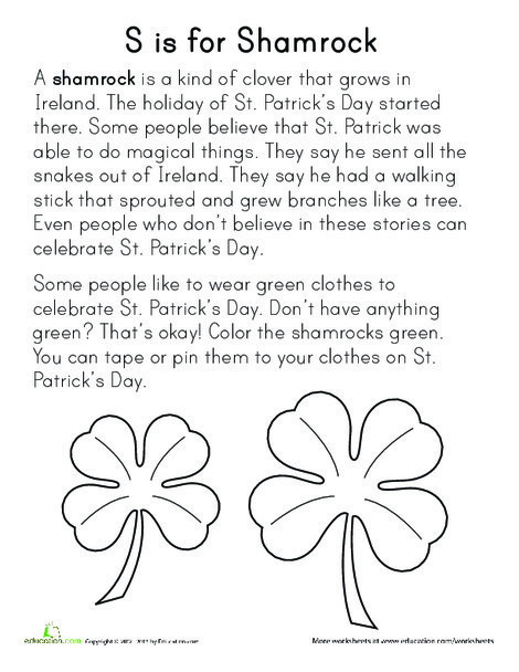Preschool Arts & crafts Worksheets: S is for Shamrock