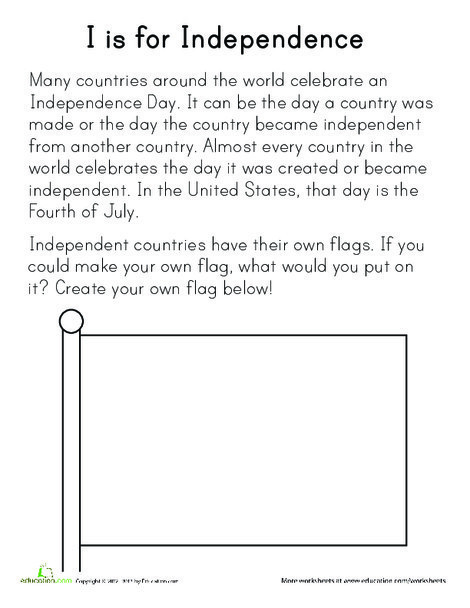 Preschool Holidays Worksheets: I is for Independence
