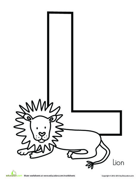 Preschool Reading & Writing Worksheets: L is for Lion