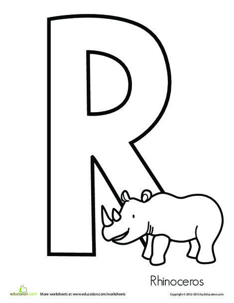 Preschool Reading & Writing Worksheets: R is for Rhinoceros