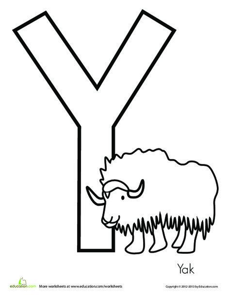 Preschool Reading & Writing Worksheets: Y is for Yak