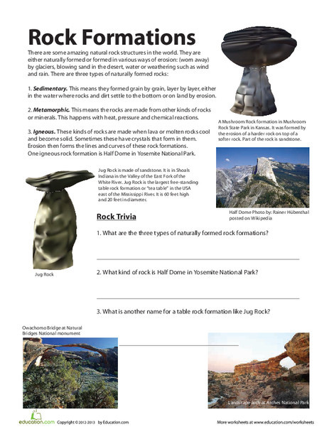 Fourth Grade Science Worksheets: Rock Formations