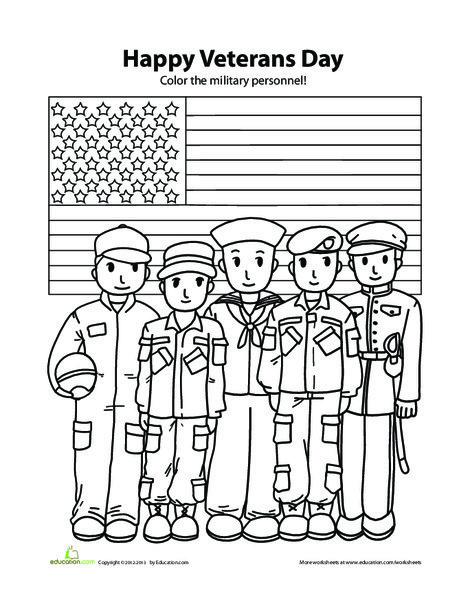 Kindergarten Coloring Worksheets: Happy Veterans Day