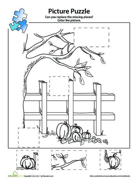 Kindergarten Arts & crafts Worksheets: Pumpkin Patch Picture Puzzle