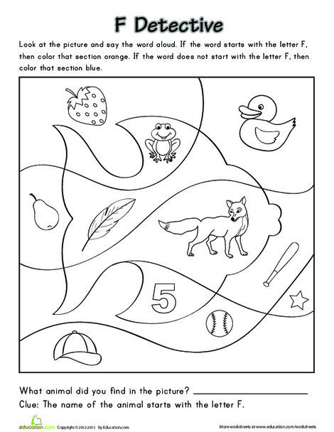 Preschool Reading & Writing Worksheets: Finding the Letter F