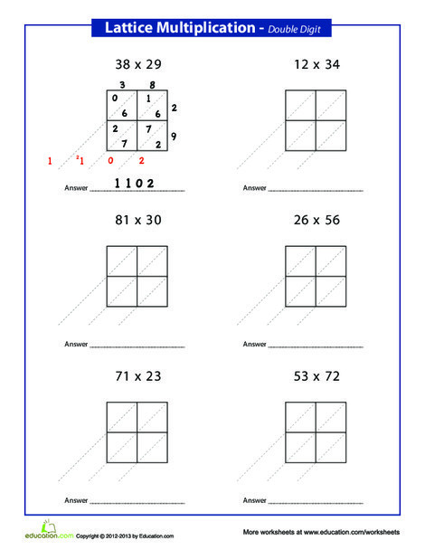 Third Grade Math Worksheets: Lattice Method Multiplication: Double Digits