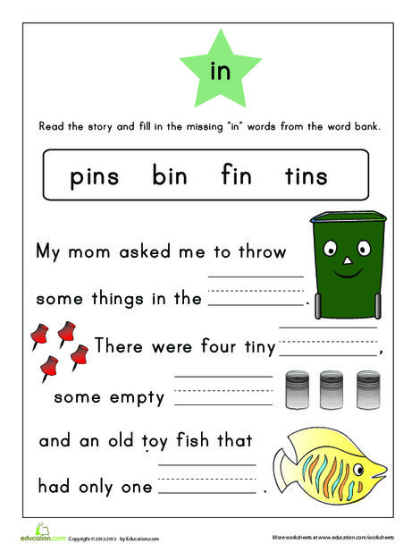 First Grade Reading & Writing Worksheets: Word Family Story: -in