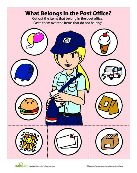 Preschool Math Worksheets: Post Office Game