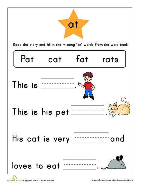First Grade Reading & Writing Worksheets: Word Family Story: -at