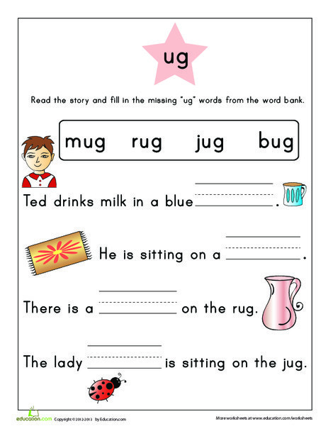 First Grade Reading & Writing Worksheets: Word Family Story: -ug