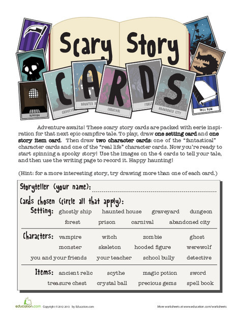 Fourth Grade Reading & Writing Worksheets: Scary Story Card Game