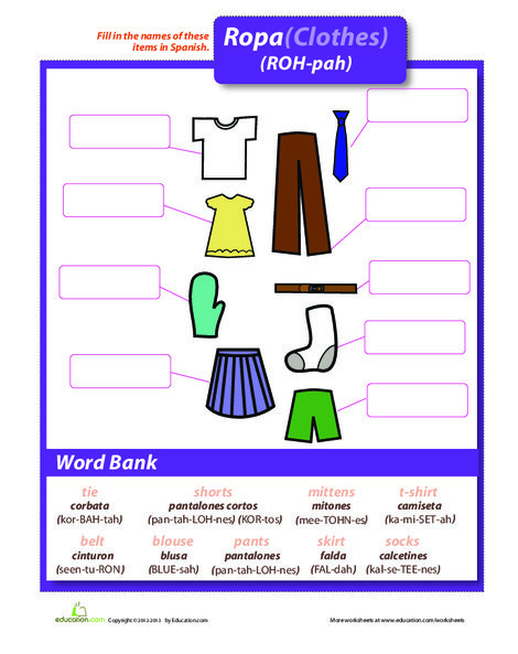 Second Grade Foreign language Worksheets: La Ropa