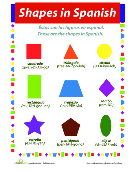 Fourth Grade Foreign language Worksheets: Shapes in Spanish