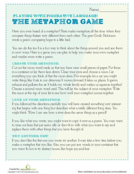 Fifth Grade Reading & Writing Worksheets: Metaphor Game