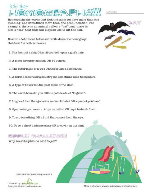 Fifth Grade Reading & Writing Worksheets: Homographs