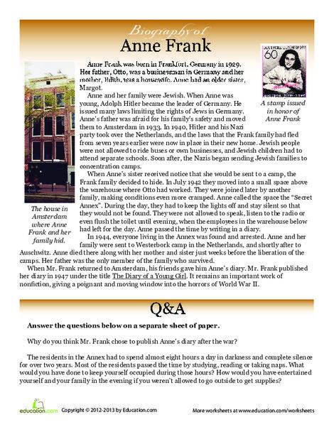 Fifth Grade Social studies Worksheets: Anne Frank