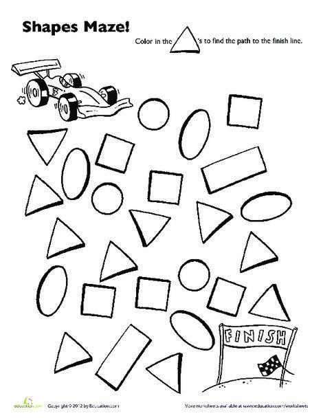 Preschool Math Worksheets: Race Car Shape Maze