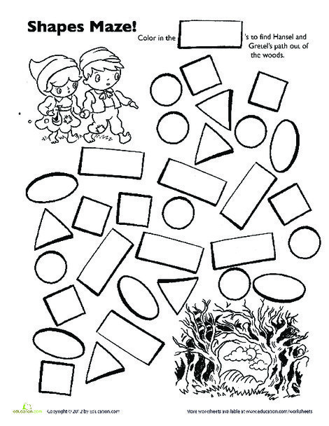 Preschool Math Worksheets: Hansel and Gretel Shape Maze