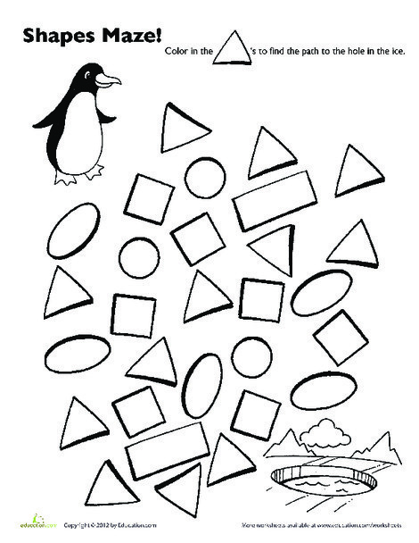 Preschool Math Worksheets: Penguin Shape Maze