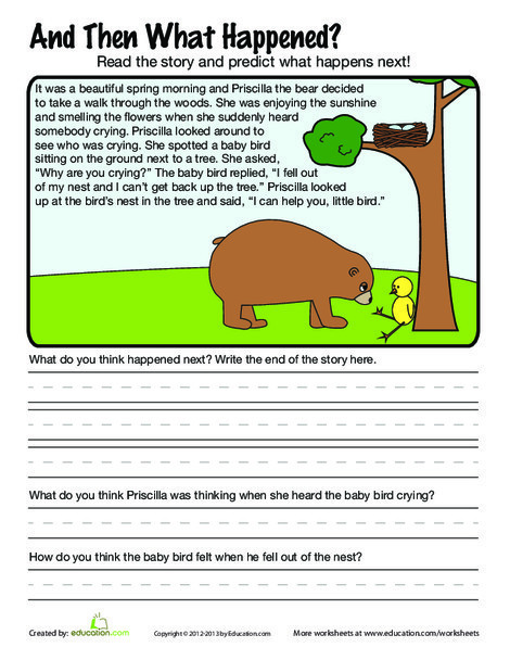 Second Grade Reading & Writing Worksheets: What Happened Next?