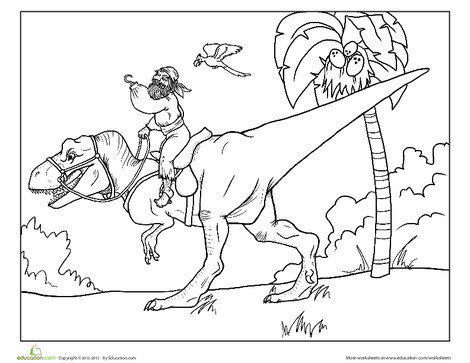 First Grade Coloring Worksheets: Dinosaur Pirate Coloring Page