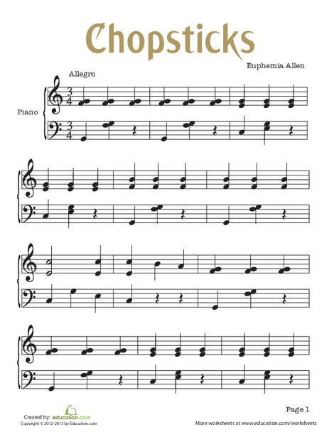 Fourth Grade Fine arts Worksheets: Chopsticks Sheet Music