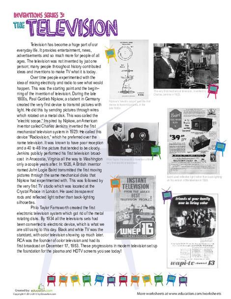 Fifth Grade Reading & Writing Worksheets: History of Television