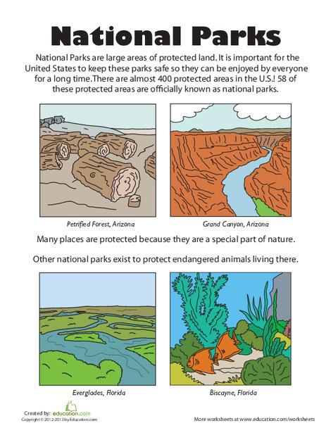 First Grade Social studies Worksheets: U.S. National Parks