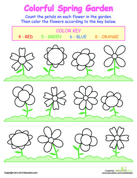 Preschool Math Worksheets: Counting Flowers