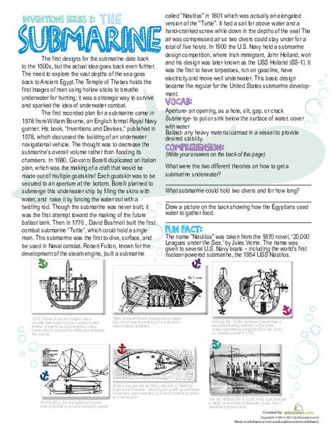 Fifth Grade Reading & Writing Worksheets: History of Submarines