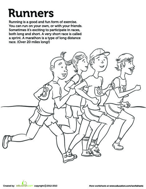 Kindergarten Coloring Worksheets: Runner Coloring Page